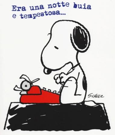 Era-una-notte-buia-e-tempestosa...-così-Snoopy-cerca-sempre-di-iniziare-il-suo-mai-finito-romanzo.-In-mostra-la-copia-del-vero-romanzo-con-questo-incipit.